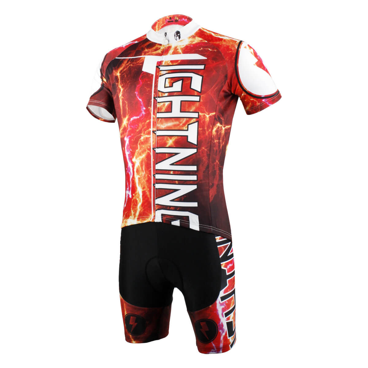 Red Thunder Lighting Cycling Suits For Men With Jersey and Bib Padded Shorts