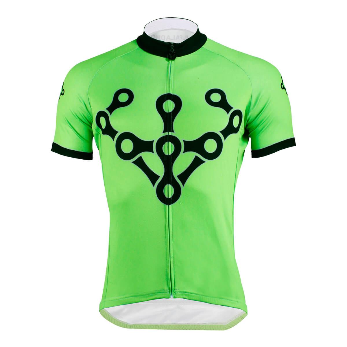Bike Chain Design Cycling Jersey Green Short Sleeve Shirts For Men
