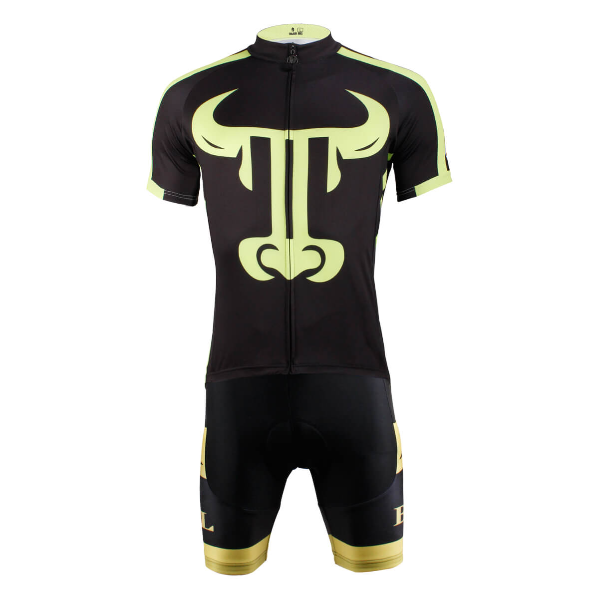 Bull Desigh Black Cycling Suits For Men's With Jersey and Bib Padded Shorts