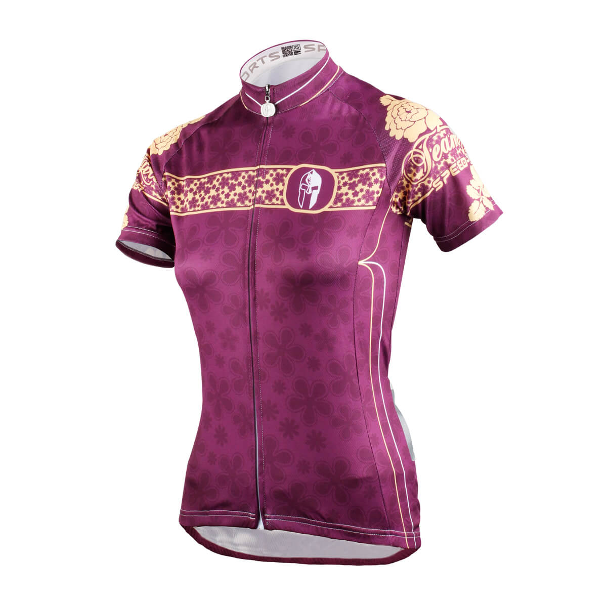 Purple Peony Design Cycling Jerseys For Women