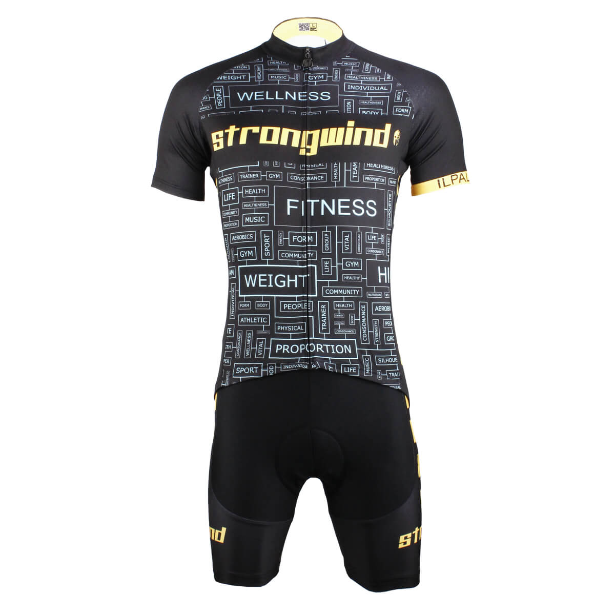 Men Strong Wind Design Black Cycling Suits With Bike Jersey and bib Padded Shorts