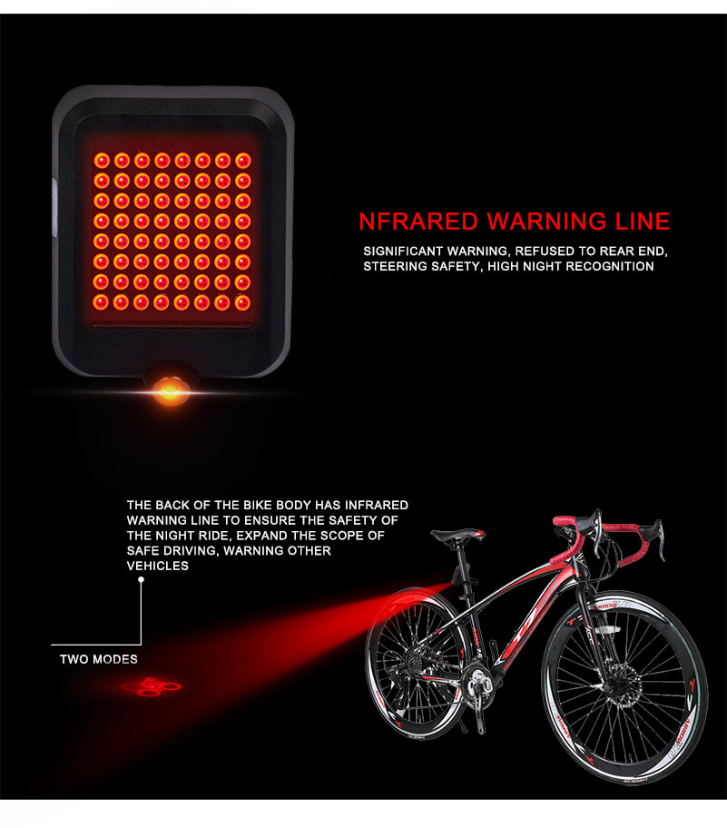Laser Bicycle Tail light USB MTB Bike Automatic Turn Signals Safety Warning Light