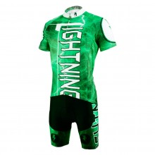 Green Lighting Design Mens Cycling Suits With Bike Jersey and Bib Padded Shorts