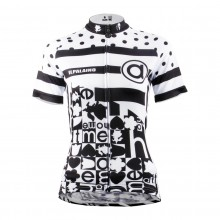 Black Dot Short Sleeve Cycling Jerseys For Girls
