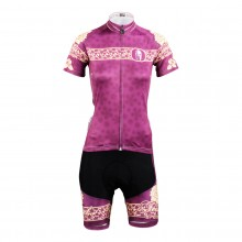 Purple Peony Design Women Cycling Suits With Bike Jersey and Padded Pants