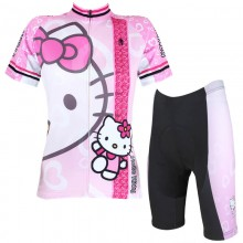 Lovely Hello Kitty Pink Girls Cycling Suits With Jersey and shorts