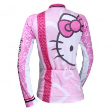 Lovely KT Hello Kitty Cycling Jerseys Pink Long Sleeve Jersey For Girls