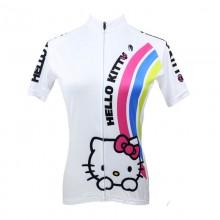White Hello Kitty Short Sleeve Cycling Jerseys For Women's