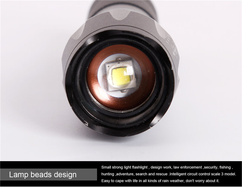 USB Rechargeable Zoom Bicycle Front Led Flashlight
