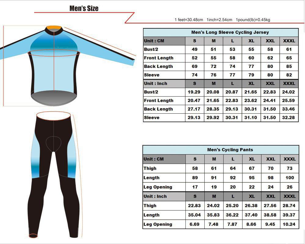 Men S Long Sleeve Cycling Jersey Size Chart Chogory